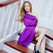 Luxury beautiful woman on staircase — Stock Photo #31006223
