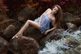 Beautiful woman in fairy forest — Stock Photo