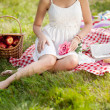 Beautiful girl on picnic on nature. Beautiful Young girl Outdoor — Stock Photo #38545785