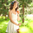 Stock Photo: Beautiful woman on picnic on nature. Beautiful Young girl Outdoo