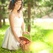 Beautiful girl on picnic on nature. Beautiful Young girl Outdoor — Stock Photo #38545789