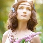 Beautiful girl on nature. Beautiful Young girl Outdoors. Enjoy H — Stock Photo #38545851
