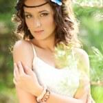Beautiful girl on nature. Beautiful Young girl Outdoors. Enjoy H — Stock Photo #38545859