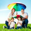 Happy family together in outdoor park at sunny day. Mom, dad an — Stock Photo