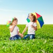 Stock Photo: Two little girls in outdoor park at sunny day. Sisters in the