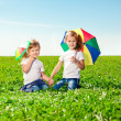 Two little girls in outdoor park at sunny day. Sisters in the — Stock Photo #38546053