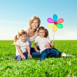 Happy family together in outdoor park at sunny day. Mom two dau — Stock Photo