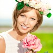 Stock Photo: Young Womand flowers