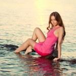 Beauty woman on the beach at sunset. Enjoy nature. Luxury girl r — Stock Photo #38546631