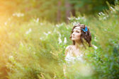 Beautiful girl on nature. Beautiful Young girl Outdoors. Enjoy H — Stock Photo