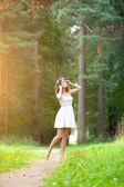 Beautiful woman on nature. Beautiful Young girl Outdoors. Enjoy — Stock Photo