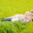 Happy young adult couple in love on the field. Two,  man and wom — Stock Photo #46339579