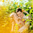 Happy young adult couple in love on the field. Two,  man and wom — Stock Photo #46340475