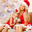 Mom and daughter dressed as Santa celebrate Christmas. Family at — Stock Photo #46349813