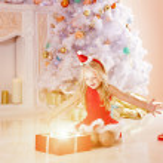 Beautiful little Santa girl near the Christmas tree.  Happy girl — Stock Photo #46349899