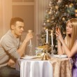 Two lovers on a romantic dinner by candlelight. Man and woman to — Stock Photo #46350647