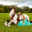 Beautiful woman with a horse in the field. Girl on a farm with a — Stock Photo