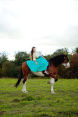Beautiful woman with a horse in the field. Girl on a farm with a — Stock fotografie