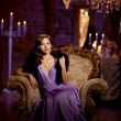 Luxury fashion stylish woman in the rich interior. Beautiful gir — Stock Photo #48562685