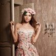 Luxury young smiling beauty woman in vintage dress in elegant in — Stock Photo