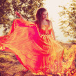 Beauty witch in the woods near the fire. Magic woman celebrating — Stock Photo #48566067