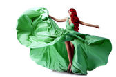 Luxury beautiful young woman in a long evening dress. Girl in fl — 图库照片