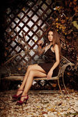 Luxury beauty young woman in a mystical forest — Photo