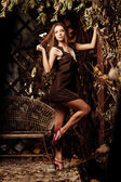 Luxury beauty young woman in a mystical forest — 图库照片