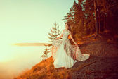 Luxury woman in a forest in a long vintage dress near the lake. — Stock Photo