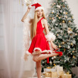 Young beauty santa woman near the Christmas tree. Fashionable lu — Stock Photo #51085493