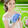 Bride on a field in the sunshine — Stock Photo #51085637