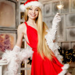 Young beauty santa woman near the Christmas tree. Fashionable lu — Stock Photo #51087093