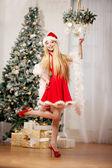 Young beauty santa woman near the Christmas tree. Fashionable lu — Stock Photo
