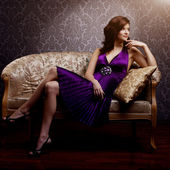 Fashion luxury model in purple dress. Young beauty style girl. B — Stock Photo
