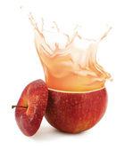 Apple juice splashing isolated on white — Stock Photo
