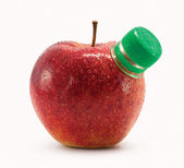 Red apple with bottle neck isolated on white background — Stock Photo