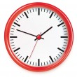 Stock Photo: Red wall clocks isolated on white.