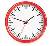 Red wall clocks isolated on white. — Stock Photo