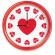 Clock with hearts. Isolated on white. Vector — Vector de stock