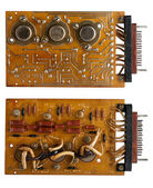 Capacitors and chips old microcircuit board — Foto Stock