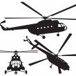 Stock Vector: Helicopter silhouette. Mi 8. Vector illustration