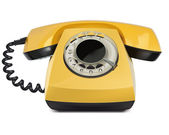 Telephone yellow, vintage, isolated. Vector Illustration — Stock Vector
