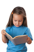 Girl reading a book. Isolated — Stock Photo