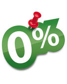 Zero percent sticker fixed by a thumbtack. Vector illustration — Stock Vector