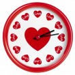 Stock Video: Clock with hearts. Seamlessly loops. Time lapse