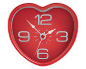 Heart shaped clock isolated on white. Illustration — Stock Vector