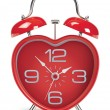 Stock Vector: Heart shaped alarm clock on white. Vector illustration