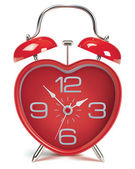 Heart shaped alarm clock on white. Vector illustration — Stock Vector