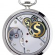 Stock Photo: Stopwatch works with coins signs. Illustration