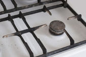 Gas burning from a kitchen gas stove old — Stockfoto